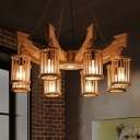 Farm Cylinder Chandelier Light 6/8-Head Wood Pendant Lighting Fixture with Anchor Deco