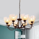 Bowl Yellow Rippled Glass Chandelier Rustic 8 Lights Living Room Pendant Light in Black with Curved Arm