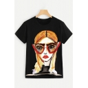 Streetwear Ladies Short Sleeve Round Neck Cartoon Girl Pattern Regular Fit T Shirt