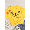 Fashionable Womens Short Sleeve Crew Neck Letter BE STILL Print Regular Fit T-Shirt in Yellow