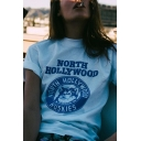Cool Street Girls Roll Up Sleeve Crew Neck Letter NORTH HOLLYWOOD Huskie Graphic Relaxed T Shirt