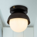 Black/Gold Finish Domed Flush Light Fixture Post Modern 1 Bulb Metal Flush Mount with Orb Opal Glass Shade