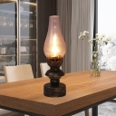 Brass 1 Light Table Lamp Retro Style Clear Glass Vase Shade Desk Light with Metallic Base