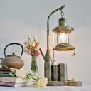 Farm Kerosene Table Lighting 1 Light Clear Glass Desk Light with Metallic Base for Study Room