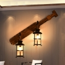2 Heads Clear Glass Wall Mounted Light Coastal Black Finish Restaurant Wall Lighting Ideas with Wood Tool Backplate