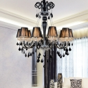 Crystal Drip Black Pendant Chandelier Curved Arm 10 Bulbs Traditional Ceiling Light with Fabric Shade