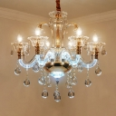 Traditional Bent Arm Ceiling Chandelier 6-Bulb Clear Crystal Glass Candlestick Hanging Ceiling Light