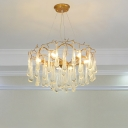 6 Lights Water Drop Ceiling Chandelier Modernist Clear Crystal LED Ceiling Suspension Lamp