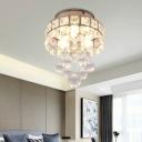 Modernist Round Flushmount Lighting 3-Light Crystal LED Flush Mount Lamp Fixture in Silver