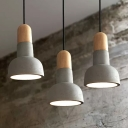 1-Bulb Cement Hanging Lighting Vintage Grey and Red/Black/Wood Dome Restaurant Pendant Lamp Kit