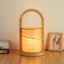 Oval Ring Night Table Light Simple Wood 1 Light Bedroom Night Lamp with Cylinder Shade