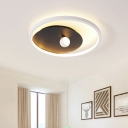 Round LED Flush Mount Ceiling Lamp Contemporary Acrylic Black and White Flushmount Lighting with Ball Design for Bedroom