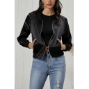 Chic Street Girls Long Sleeve Zipper Front Solid Color Cropped Baseball Jacket