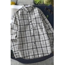 Casual Guys Long Sleeve Lapel Neck Button Up Checker Printed Loose Fit Shirt in Gray