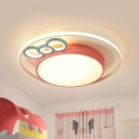Modernist Drum Flush Mount Lighting Fixture Acrylic Bedroom LED Ceiling Lamp with Bownot Design in Blue/Pink