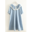 Casual Summer Ladies Light Blue Short Sleeve Peter Pan Collar Ruffled Lace Trim Short Swing Denim Dress