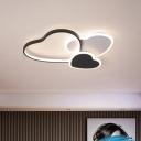 LED Living Room Ceiling Flush Mount Modern Black Flushmount Light with Loving Heart Acrylic Shade in Warm/White Light
