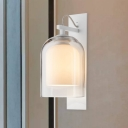 1 Bulb Wall Lamp Modern White Sconce Lighting with Dual Cloche Clear and Matte Glass Shade