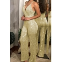 Boutique Womens Bling Bling Solid Color Sleeveless Surplice Neck Sequins Long Straight Cami Jumpsuit