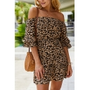 Pretty Womens Short Sleeve Off the Shoulder Leopard Print Ruffled Trim Short A-Line Dress
