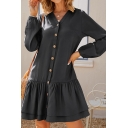 Simple Cute Ladies Solid Color Blouson Sleeve V-Neck Button Up Ruffled Trim Short A-Line Dress