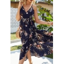 Gorgeous Womens Sleeveless V-Neck All Over Floral Printed Bow Tie Waist Long Wrap Flowy Cami Vacation Dress