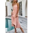 Bohemian Ladies Sleeveless Polka Dot Print Ruffled Trim Bi-Layered Irregular Hem Maxi A-Line Cami Dress