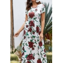 Popular Gorgeous Womens White Short Sleeve Round Neck All Over Flower Print Maxi A-Line Dress for Holiday