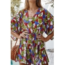 Gorgeous Trendy Ladies Bell Sleeve V-Neck Button Up All Over Floral Print Bow Tie Waist Relaxed Romper