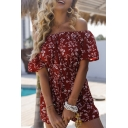 Gorgeous Girls Bell Sleeve Off the Shoulder All Over Floral Print Lace Up Relaxed Romper in Red