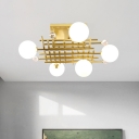 Gold Grid Flush Mount Lamp Mid Century 5-Light Metal Semi Flush Light with Ball White Glass Shade and Crystal Accent