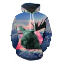 Fancy Trendy Guys Blue Long Sleeve Drawstring 3D Triangle Deer Printed Loose Fit Hoodie with Pocket