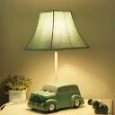 Resin Car-Like Night Table Lighting Cartoon LED Green Night Lamp with Empire Fabric Shade