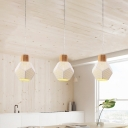 Mesh Screen Faceted Ball Cluster Pendant Modern Iron 3 Heads White Hanging Light Fixture with Wood Cap