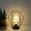 Iron Geometric/Diamond Cage Night Light Macaron Black/Pink LED Table Lighting with Plug In Cord