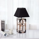 Wood Cuboid Cage Night Lamp Modern Novelty 1 Light Plug-In Table Lighting with Pagoda Fabric Shade in Black/White