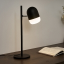 Iron Capsule Swivelable Table Light Simple 1-Light Black Night Lamp with Straight Rod Stand