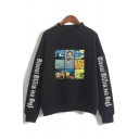Korean Girls Long Sleeve Mock Neck Letter Oil Painting Graphic Loose Fit Pullover Sweatshirt