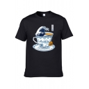 Guys Trendy Short Sleeve Crew Neck Wave Cup Patterned Regular Fitted T-Shirt