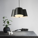 Iron Cluster Barrel Pendant Contemporary 3/7 Heads Black LED Suspended Lighting Fixture with Recessed Diffuser