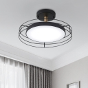 White/Black/Gold Round Semi Mount Lighting Nordic LED Metal Close to Ceiling Lamp with Frame for Bedroom