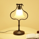 Tan Glass Bell Rotating Night Lamp Vintage 1 Bulb Office Table Lighting with Black Pear Frame