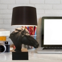 Resin Black Nightstand Light Steed Head 1 Head Countryside Table Lamp with Tapered Lampshade