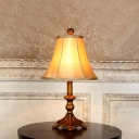 Candlestick Resin Table Lamp Vintage 1 Head Living Room Night Light with Khaki Flared Lampshade