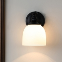 Dome White Glass Sconce Lighting Farmhouse 1 Head Living Room Wall Lamp Fixture in Black