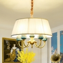 Traditional Drum Chandelier Lighting 5-Head Fabric Hanging Lamp Kit in White over Table