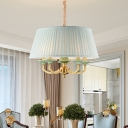 Brass Drum Suspension Light Farmhouse Fabric 5-Bulb Dining Room Chandelier Pendant Lamp