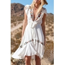 Sexy Pretty Ladies Short Sleeve Deep V-Neck Floral Embroidery Bow Tie Waist Ruffled Trim Midi Pleated A-Line Boho Dress