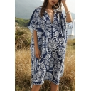 Holiday Womens Batwing Sleeve V-Neck All Over Flower Print Long Oversize Dress in Navy
