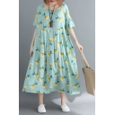 Pretty Girls Short Sleeve Round Neck All Over Flower Print Linen Long Pleated Oversize Dress in Green